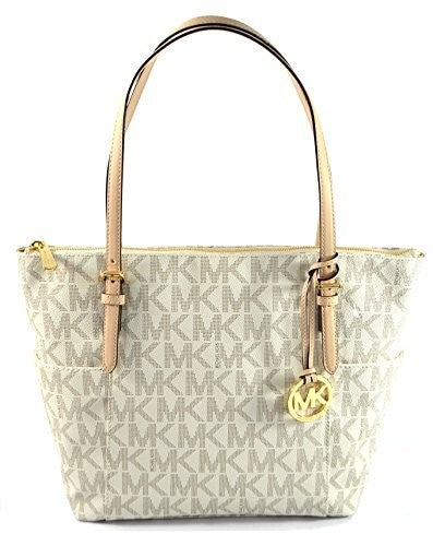Michael Kors Jet Set Item East West Signature Top Zip Vanilla Pvc Tote Womens Handbags Michael Kors