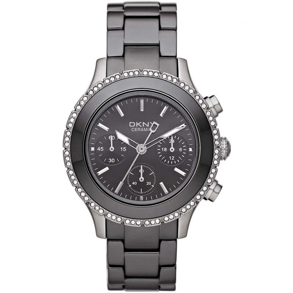 DKNY Black Ceramic Chronograph Glitz Watch NY8671 Womens Watches DKNY