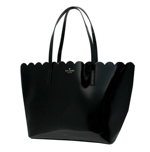 Kate Spade WKRU5265 Lily Avenue Patent Carrigan Scallop Large Tote Black Womens Handbags Kate Spade