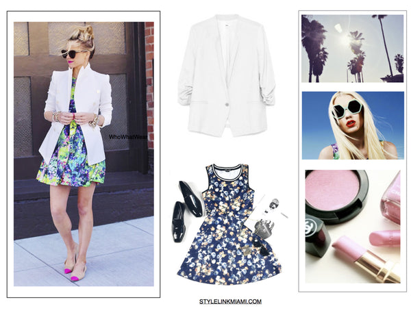 Style Link Miami How To Wear a White Blazer - Floral Dress