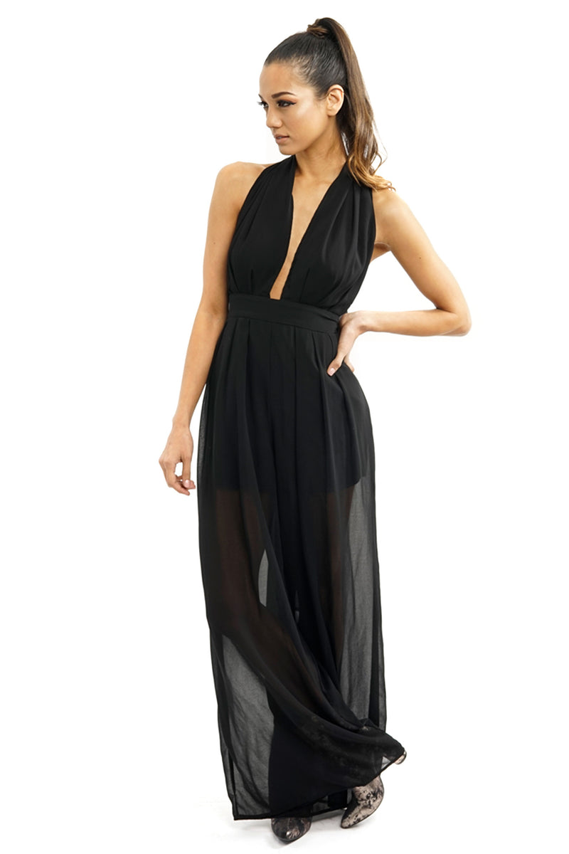 Black Sheer Long Deep-V Maxi Jumpsuit
