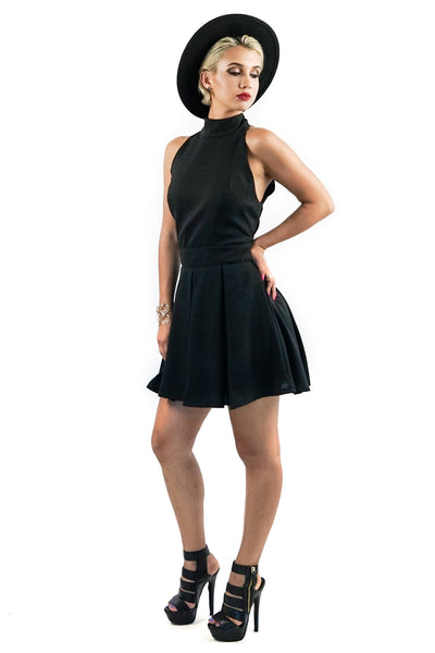 9522dd3a3928 Black Halter Neck-Line Flared Dress - Style Link Miami