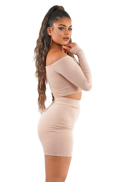 Almond Off The Shoulder Bodycon Skirt Set