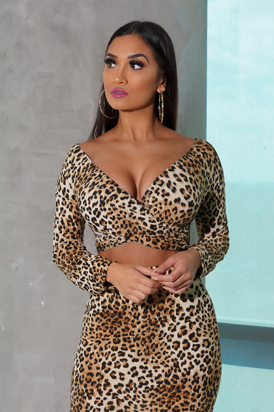 Animal Print Wrap Front Crop Top