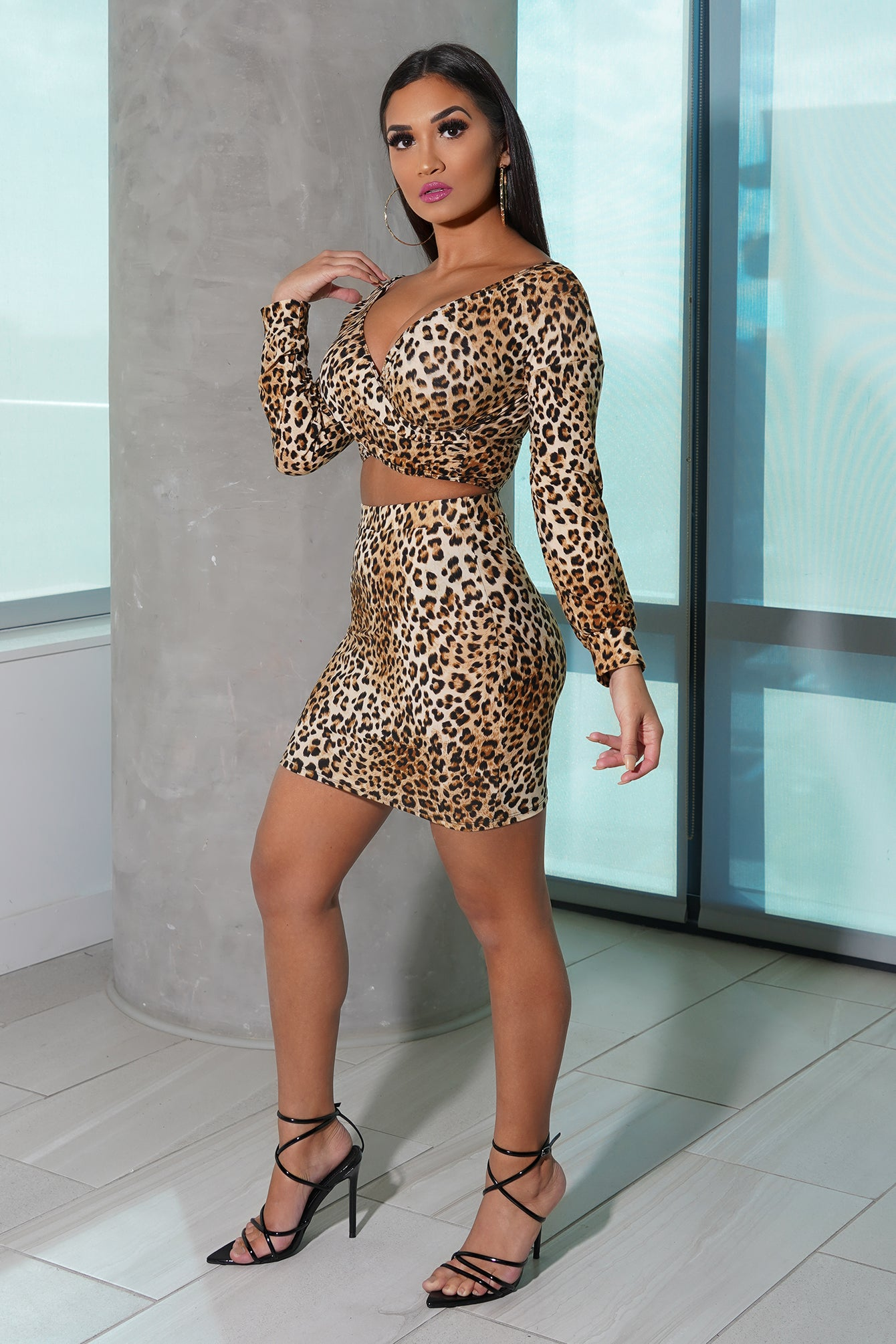 Animal Print Skirt Set