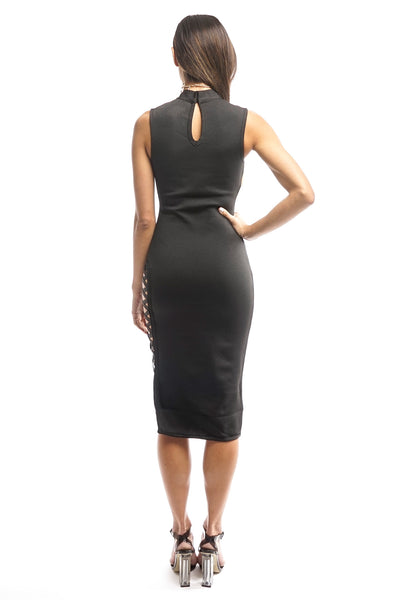 Black Bandage Side Straps Midi Dress