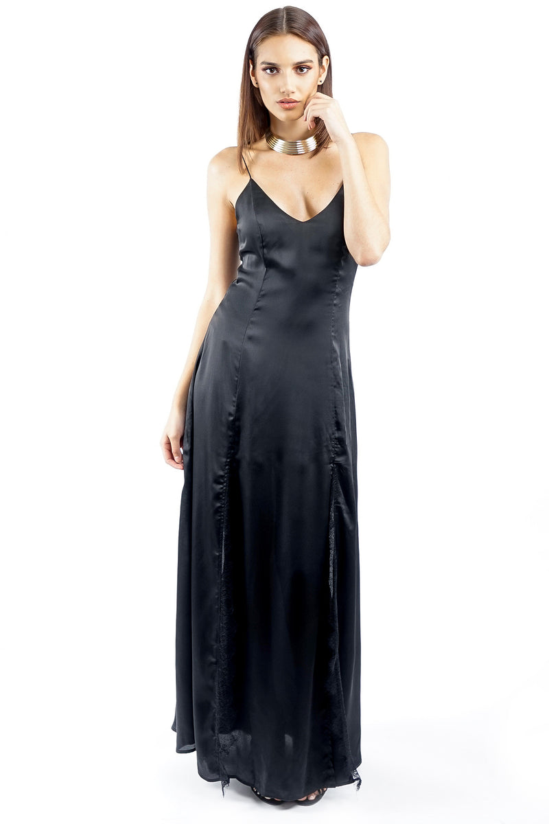 Black Long Satin Two Split Slip Dress