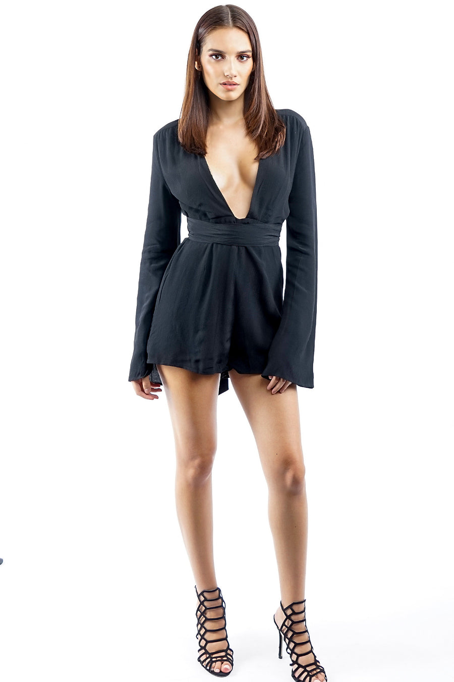 Black Long Sleeve Deep V Romper