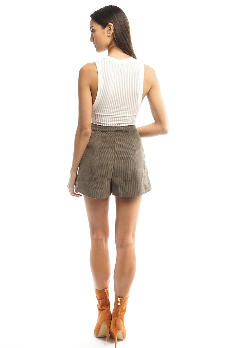 Dark Taupe Suede Ribbed Shorts