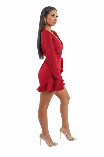 Bell Sleeve Ruffled Wrapped Romper