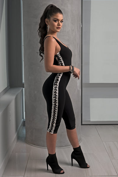 Black and White Side Lace Up Jumpsuit