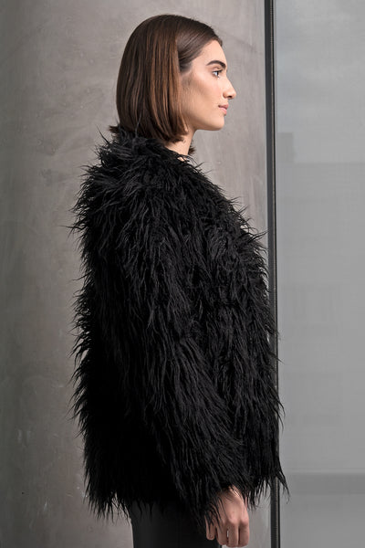 Black Faux Fur Fringe Coat