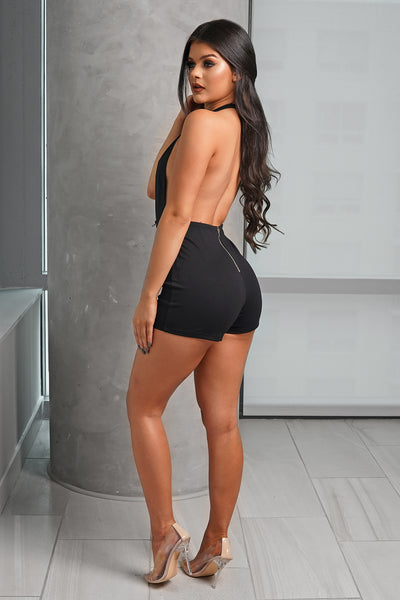 Black Deep V Halter Lace Up Romper