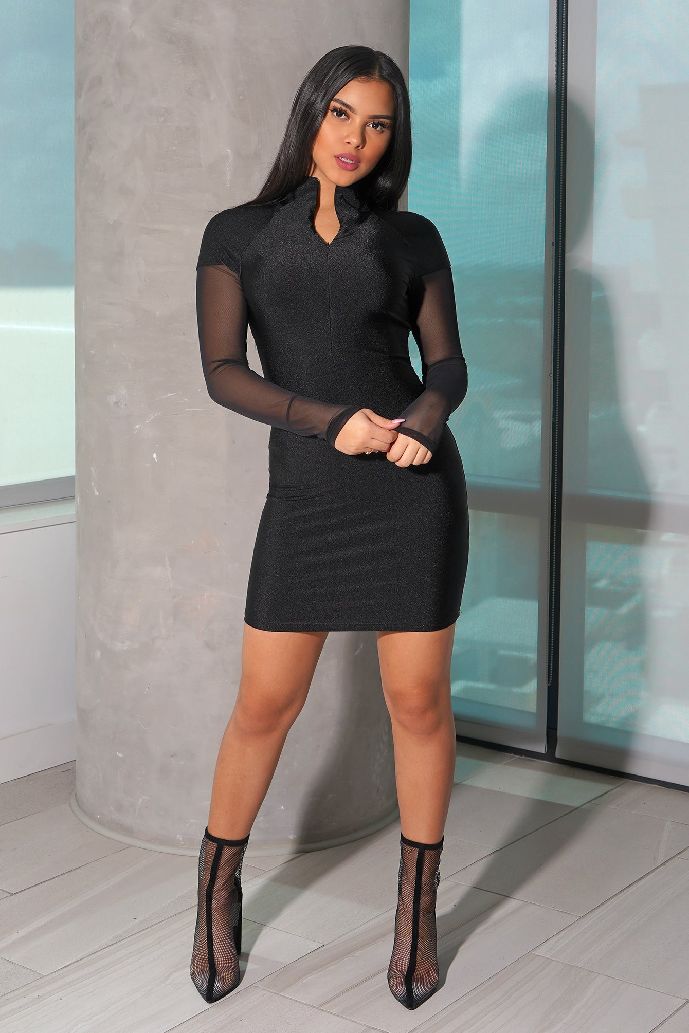 Mesh Zipper Bodycon Dress