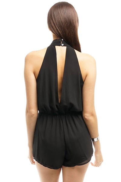 Black Deep-V Neck Short-Romper