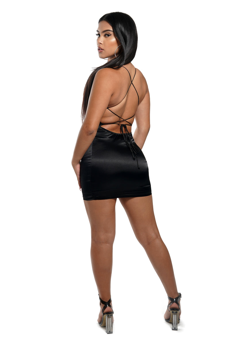 Black Satin Open Back Mini Dress