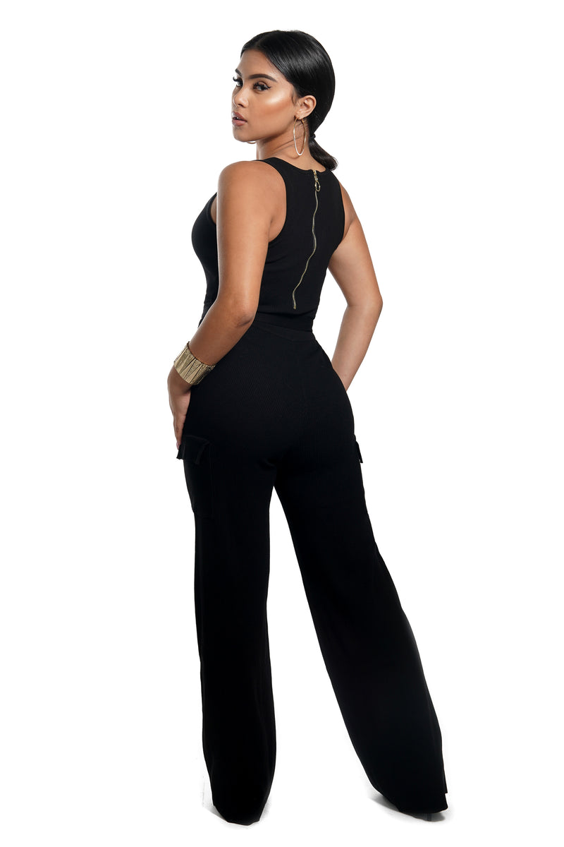 Black Sleeveless Front Tie Belt Jumpsuit