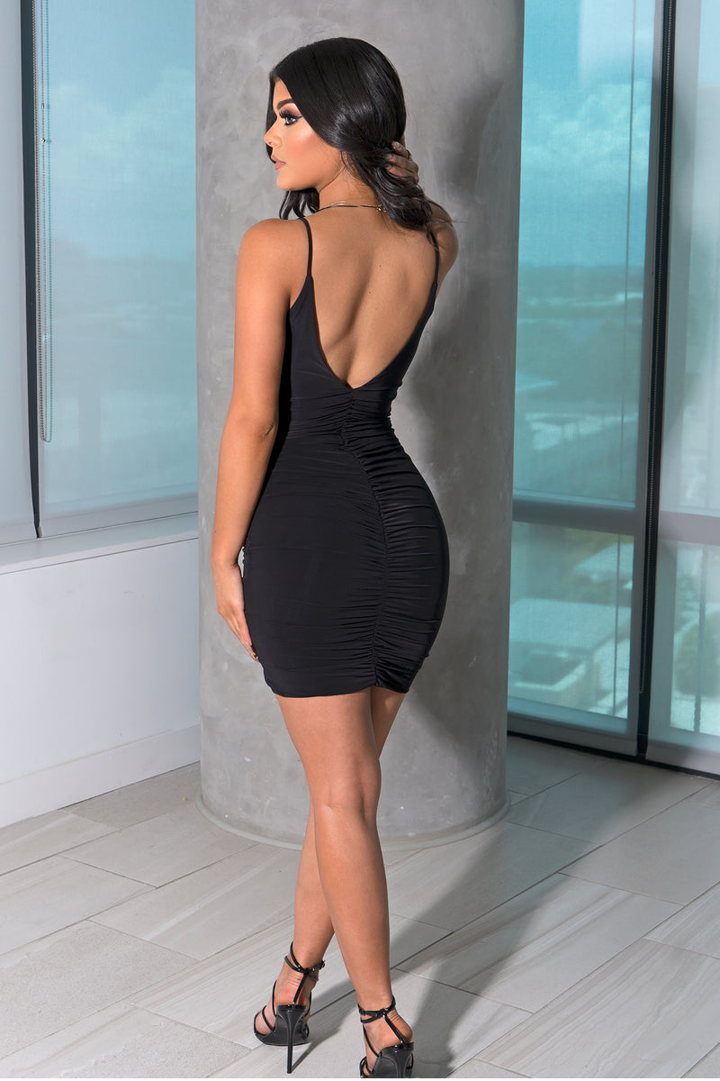 Black Scrunch Drawstring Mini Dress
