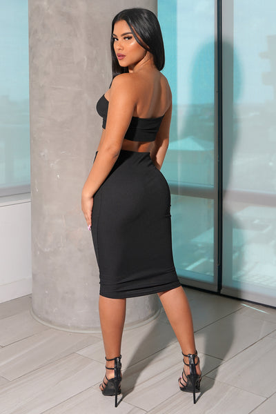 Black Strapless Knit Skirt Set