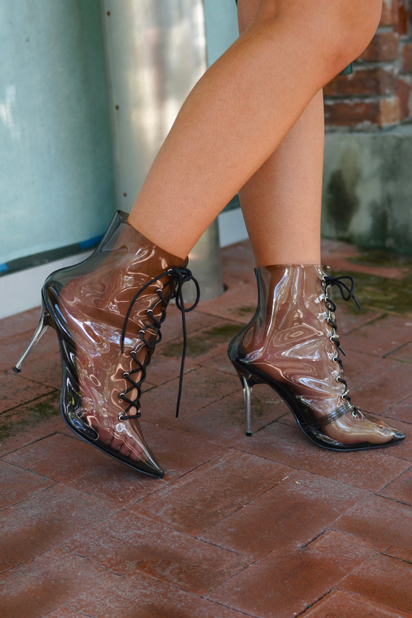 Black Transparent Pointy Toe Ankle Booties