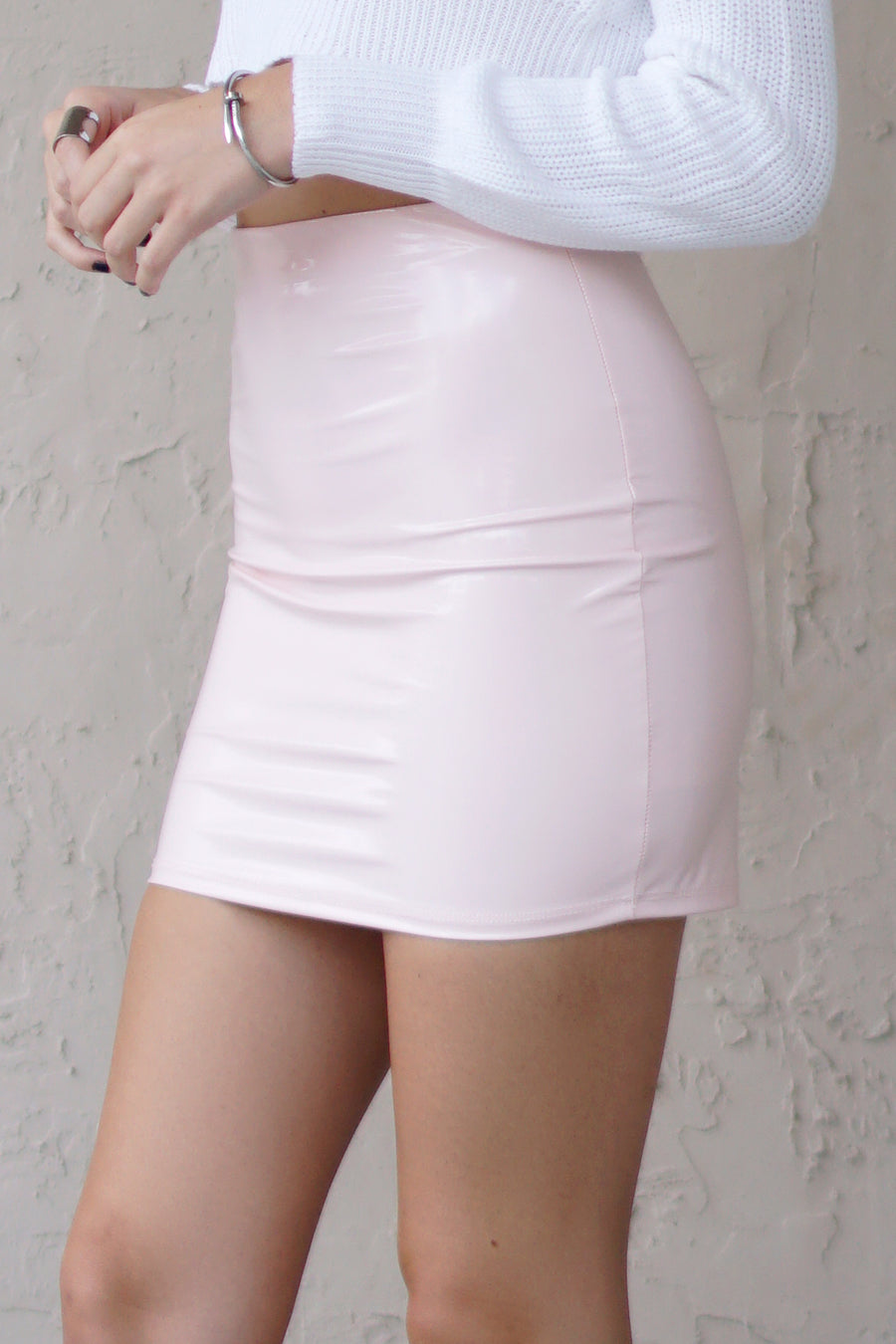 Blush Pink Latex Mini Skirt