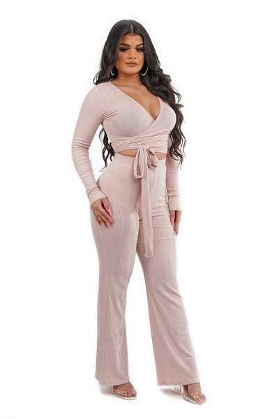 Blush Wrap Tie Pant Set
