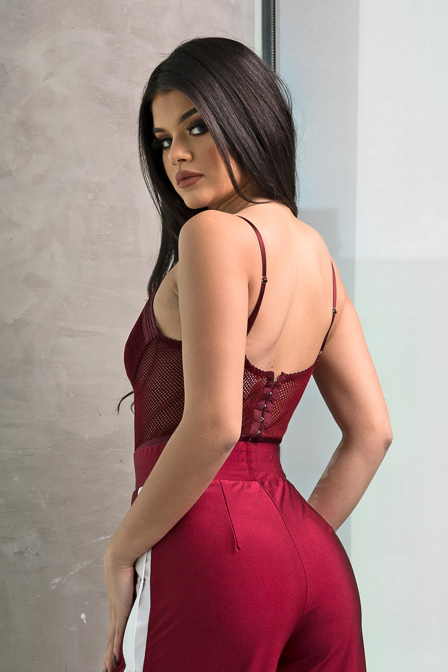 Burgundy Fishnet Bodysuit