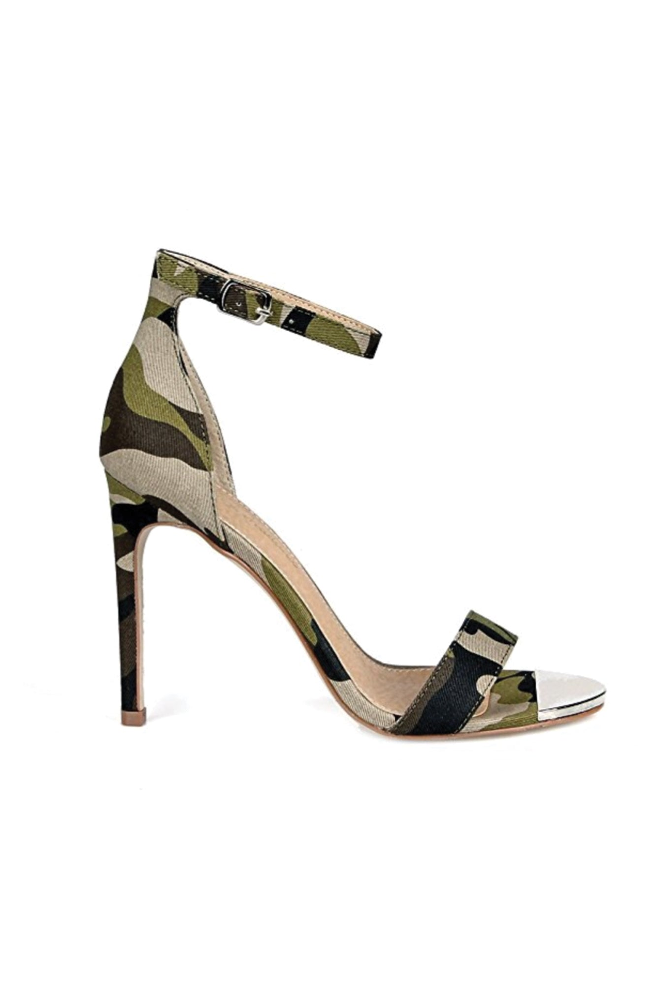 Camouflage Ankle Strap High Heels