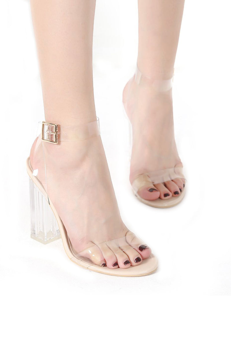 Clear Transparent Ankle Strap High Heels