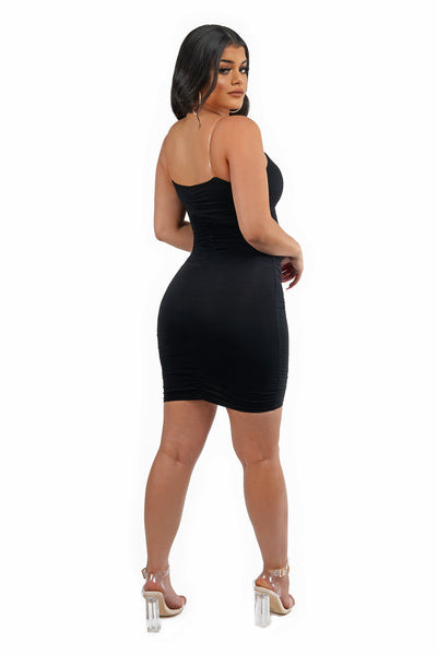 Clear Strap Black Mini Dress