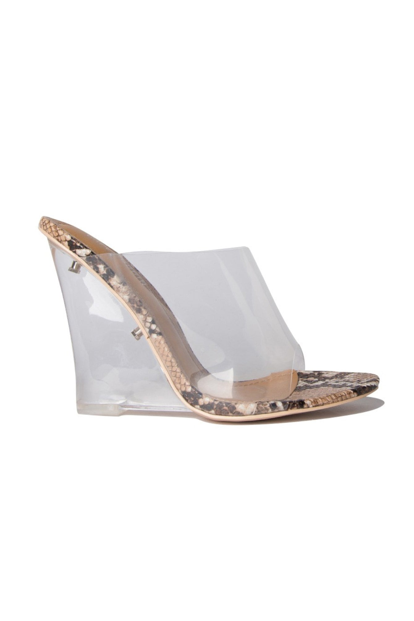 Clear Transparent Snake Mule Wedge Heel