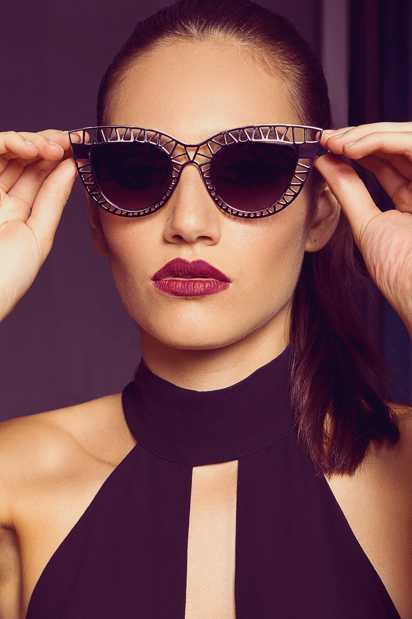 Cut-out Cat Eye Pointy Framed Sunglasses