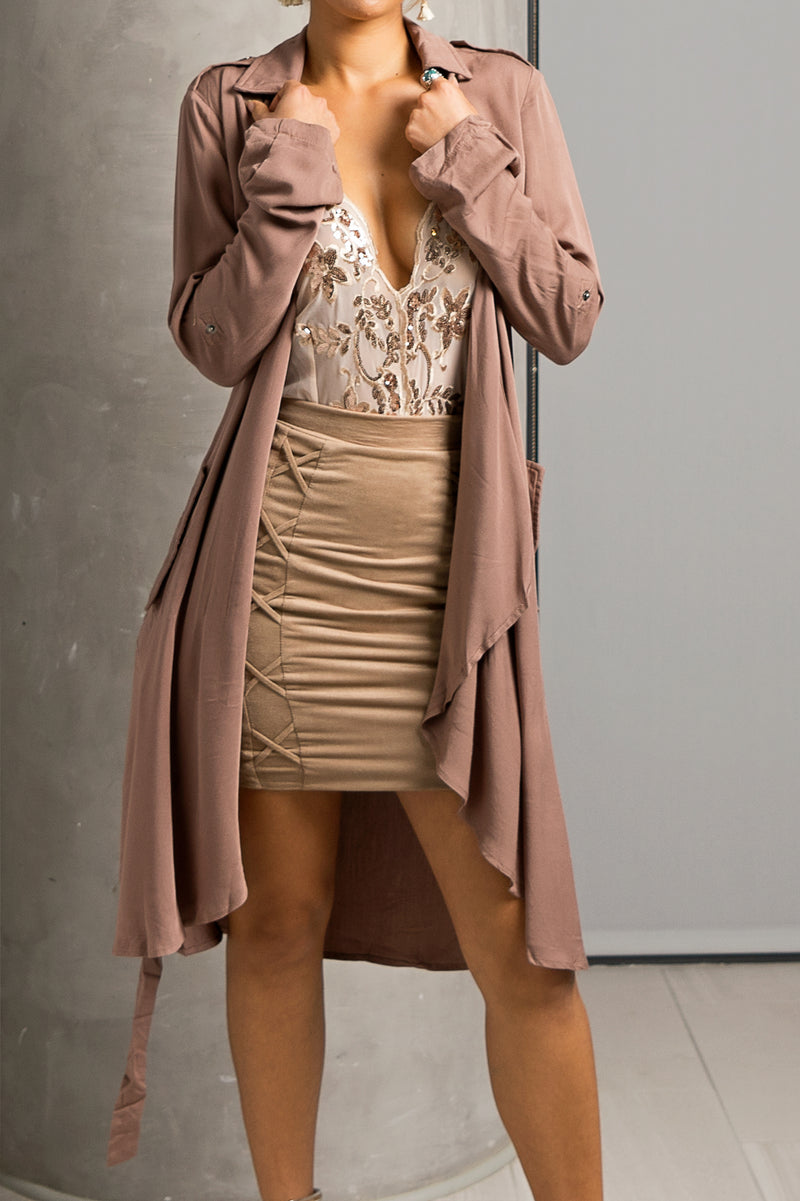 Mauve Draped Flowy Trench Jacket
