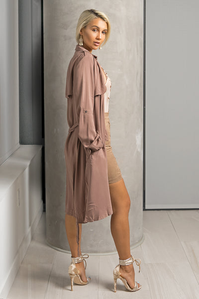 Dark Taupe Draped Flowy Trench Jacket