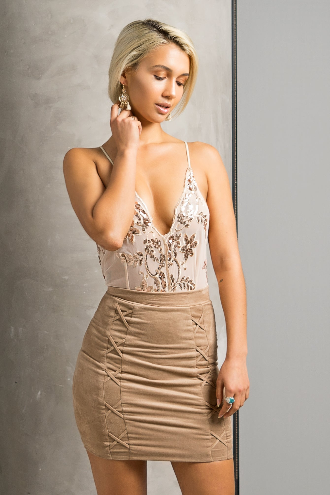 Nude Sheer Embellished Halter Bodysuit