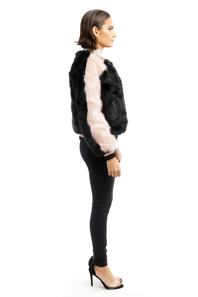 Black and Pink Faux Fur Bomber Jacket