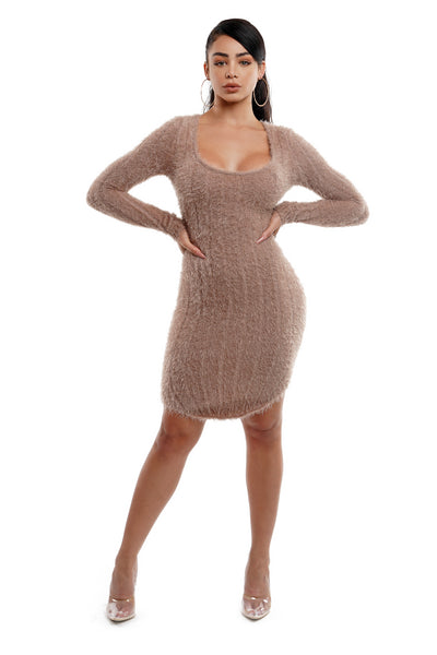Feather Yarn Round Bottom Mini Dress
