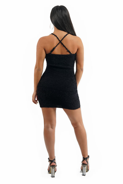 Black Fuzzy Criss Cross Back Mini Dress