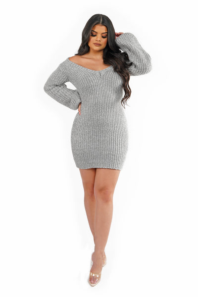 Grey Sweater Mini Dress