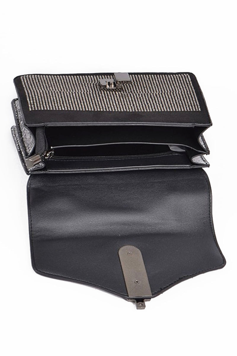 Black Rhinestone Messenger Bag