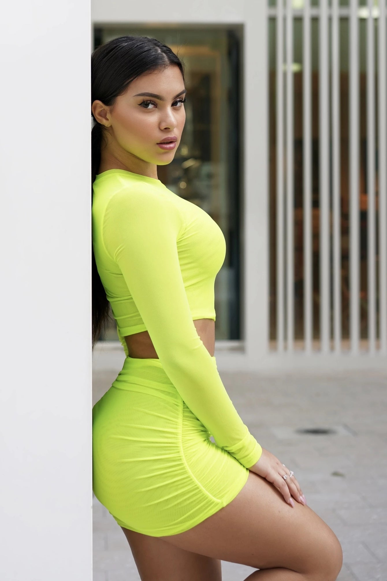 Neon Lime Mesh Skirt Set