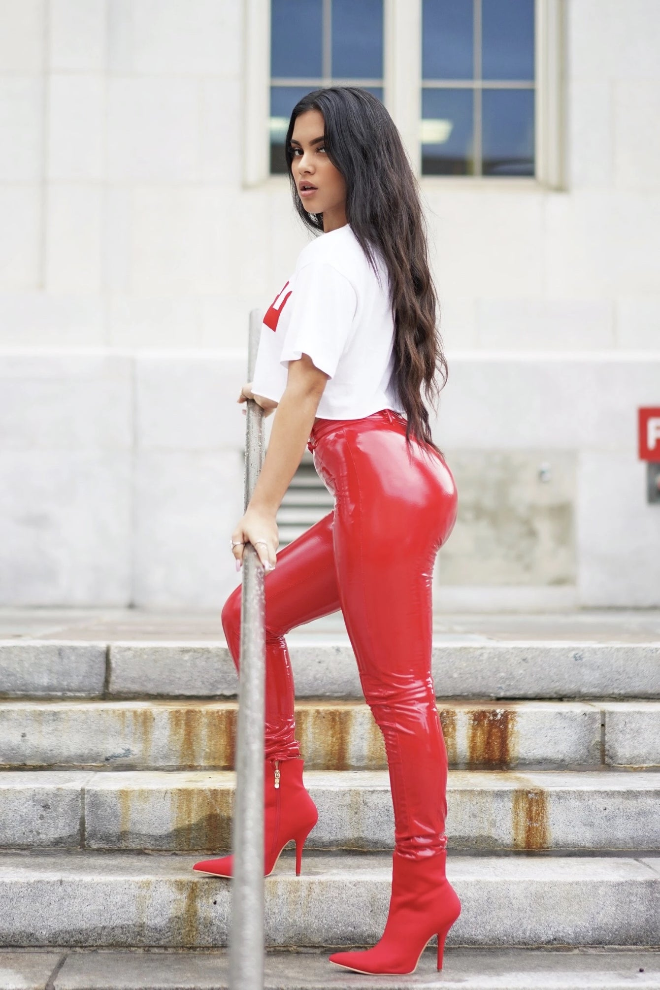 Red High Shine Latex Pants