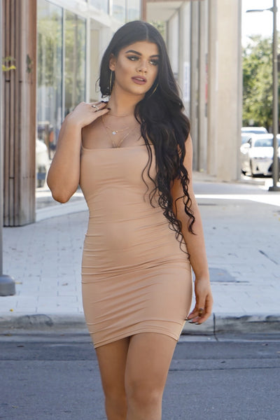 Nude Square Neck Dress