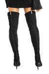 Black Strappy Over-Knee Thigh-High Cut-Out Open Peep Toe Boots