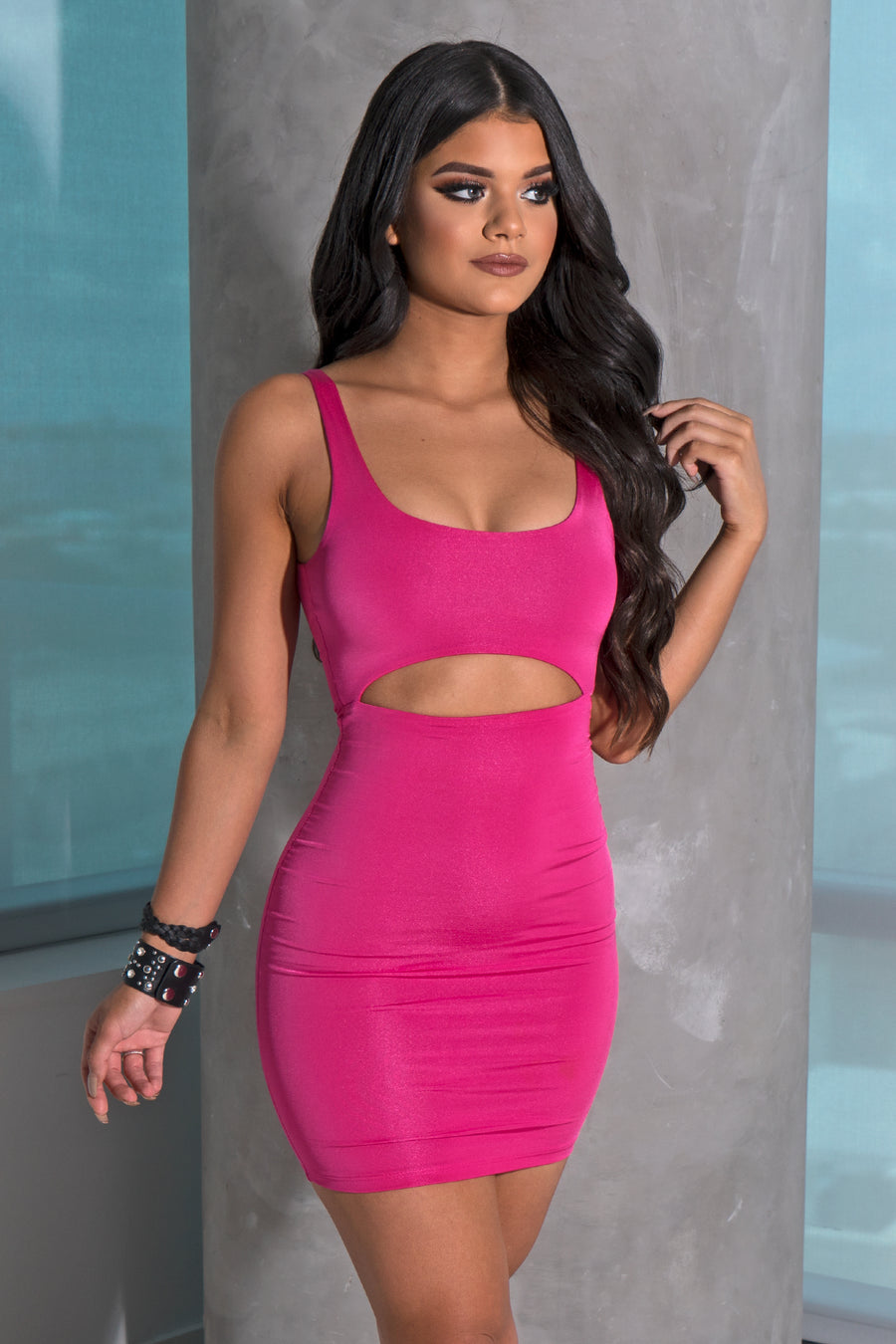 Hot Pink Cut Out Mini Dress