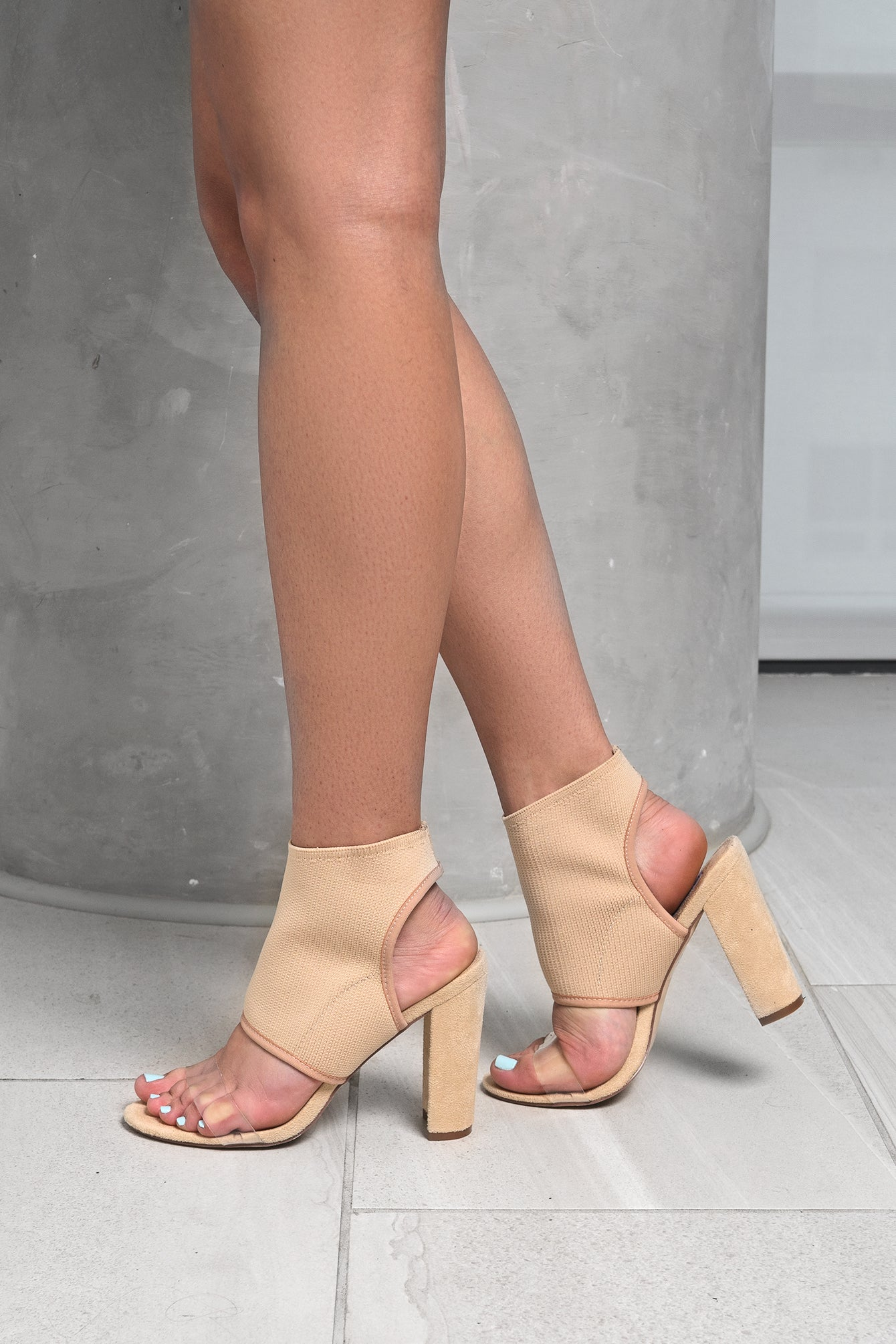 Clear Strap Nude Ankle Knit Sock High Heels