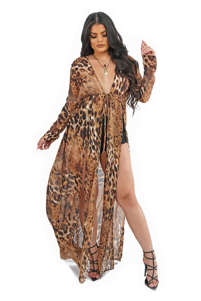 Leopard Long Sleeve Thigh Slit Maxi Top