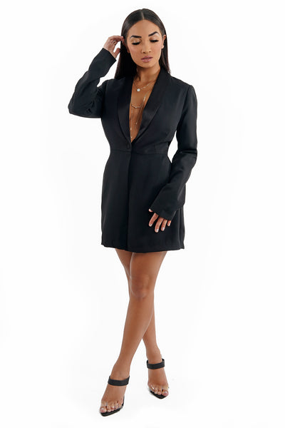 Long Sleeve Low V-Neck Collar Blazer Romper