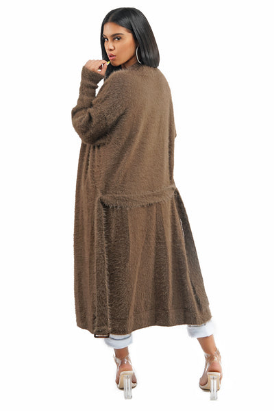 Mocha Long Knit Fuzzy Cardigan