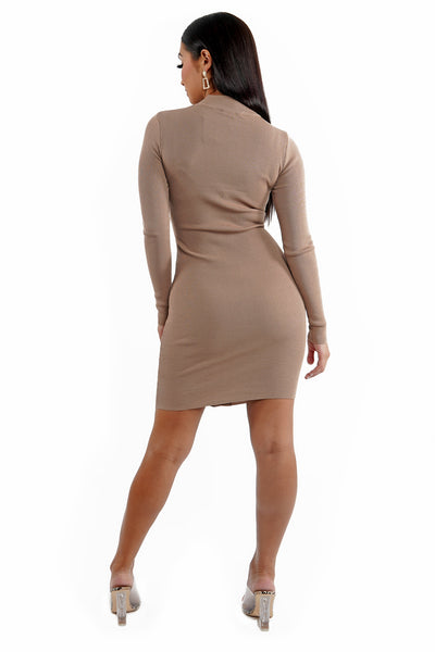 Mushroom Lattice Front Pull Over Girdle Mini Dress